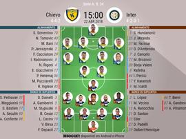 Os onzes de Chievo e Inter de Milão para o encontro deste domingo. BeSoccer