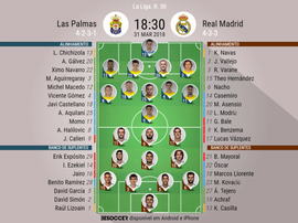 Onzes do Las Palmas-Real Madrid, 31-03-18. BeSoccer