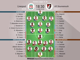 Onzes do Liverpool-Bournemouth da 34ª jornada da Premier League, 14-04-18. BeSoccer