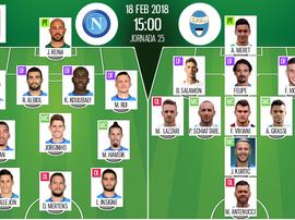 Les compos officielles du match de Serie A entre Naples et la SPAL. BeSoccer