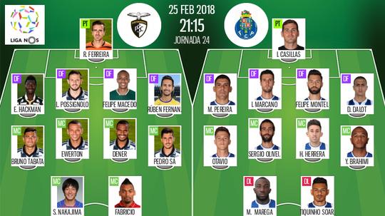 Os onzes de Portimonense e FC Porto para o jogo deste domingo. BeSoccer
