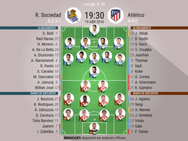Os onzes de Real Sociedade Atlético de Madrid para o embate desta quinta-feira. BeSoccer