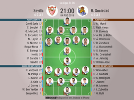 Os onzes de Sevilla e Real Sociedad para o embate deste sábado. BeSoccer