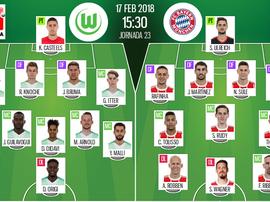 Os onzes de Wolfsburg e Bayern para o duelo deste sábado. BeSoccer