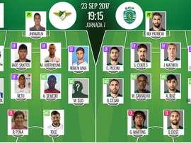 Onzes iniciais de Moreirense e Sporting CP, respetivamente. BeSoccer