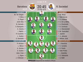 Onzes oficiais do Barcelona - Real Sociedad da j 38 Laliga 17-18.BeSoccer