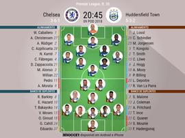 Onzes oficiais do Chelsea-Huddersfields j35 da Premier League 17-18. BeSoccer