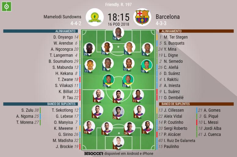Onzes oficiais do Mamelodi Sundowns -Barcelona, partida amigável 16-05-18.BeSoccer