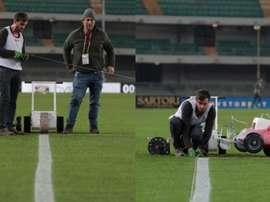 Linhas tortas atrasaram jogo do Campeonato Italiano. Hellas Verona