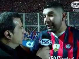 Ortigoza se derrumbó tras la clasificación de San Lorenzo. Youtube/FoxSports