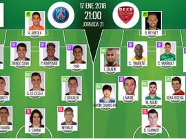 As escalações do PSG- Dijon para este jogo. Bescoccer