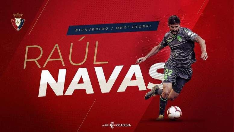 Raúl Navas puso fin a uno de los culebrones del verano. Twitter/CAOsasuna