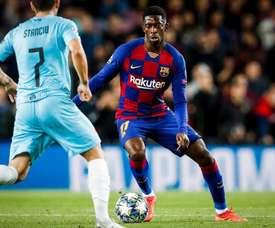 Camp Nou teve vaias a Dembélé e aplausos a Ansu Fati. Twitter/FCBarcelona