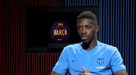 Ousmane Dembélé concedeu uma longa entrevista. Captura/BarçaTV