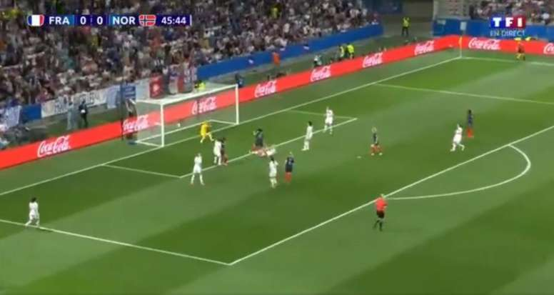 Ouverture du score. Gauvin. France-Norvège. Mondial 2019. Capture/TF1