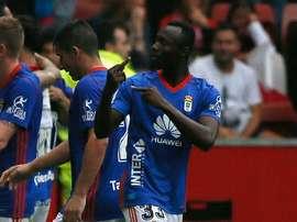 Owusu celebró de esta manera el gol de Toché. Captura/Twitter