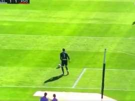 El guardameta del Celta asistió involuntariamente al delantero vasco. Twitter/beINSports