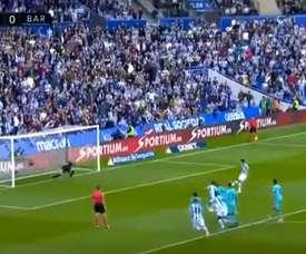 Pênalti de Busquets e gol de Oyarzabal. Captura/Movistar