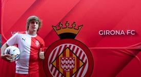 Pablo Moreno, presentado en Montilivi. Twitter/GironaFC