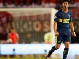 Pérez hizo un doblete en el 6-0 de Boca. EFE