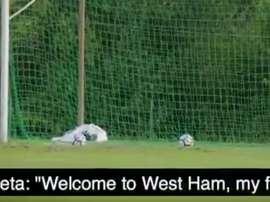 Pablo Zabaleta welcomes Joe Hart to West Ham. Twitter