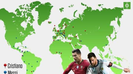 Les pays colonisés par Cristiano et Messi. BeSoccer