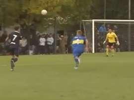 Siendo juvenil de Acassuso, le anotó un gol al filial de Boca. Bandicam
