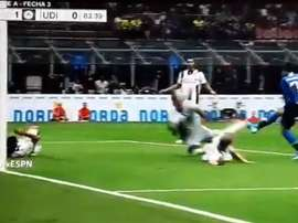 Sanchez was denied a goal thanks to a brilliant save by the Udinese keeper. Captura/ESPN