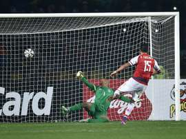 Paraguay Victor Caceres (R) scores against Brazil during the penalty shoot-out at the 2015 Copa America football championship quarter-final match, in Concepcion, Chile, on June 27, 2015