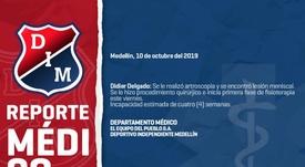 Parte médico de Independiente Medellín en relación a Didier Delgado. Twitter/DIM_Oficial