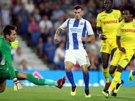 Pascal Gross nets Brighton's second goal. OfficialBHAFC/Paul Hazlewood