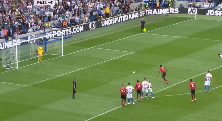 Paul Pogba scored a penalty against Brighton for Man Utd. Captura