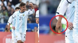 Dybala scored whilst wearing some of Messi's lucky red tape. AFP