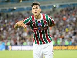 Pedro comemorando gol pelo Fluminense Twitter @fluminenseraiz
