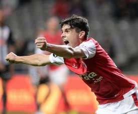 O jovem de 17 anos marcou no seu primeiro jogo pela equipa principal do Sp. Braga. Twitter/SCBraga