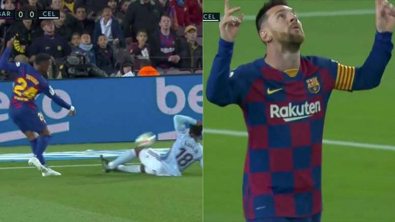 Mão de Aidoo, pênalti para o Barça, gol de Messi. Captura/Movistar