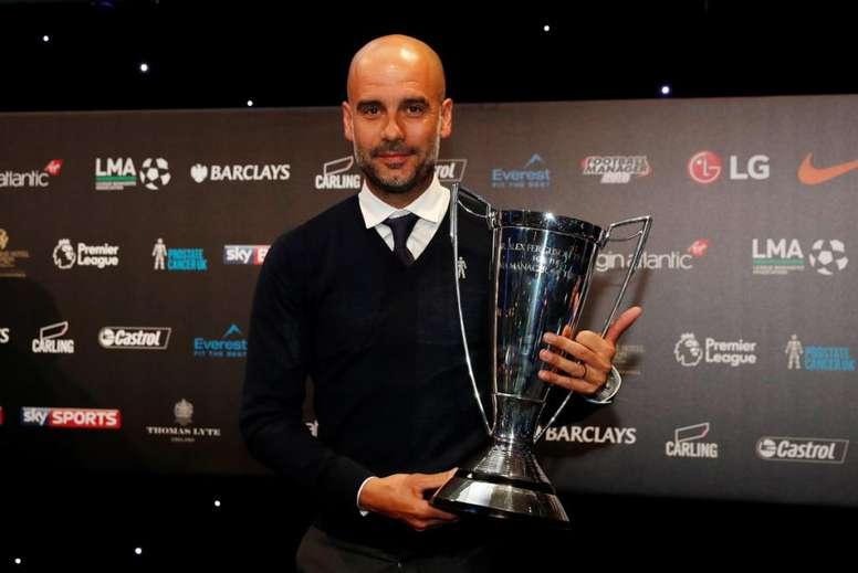 Guardiola, o melhor treinador da Premier League. Twitter/LMA_Managers