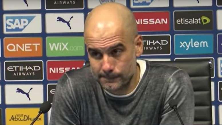 La desesperación de Guardiola cuando le preguntan por el Liverpool. Captura/AStv