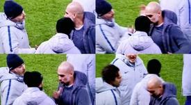 Pep Guardiola y Sarri, un gesto muy comentado. Captura