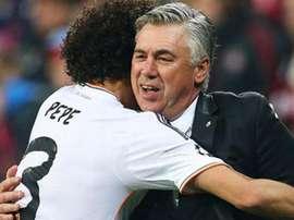Ancelotti non dimenticherà mai il gesto di Pepe nella 'Decima'. AFP