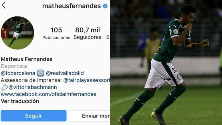 Matheus was signed by Barca before being loaned out. Montaje/Instagram/Palmeiras