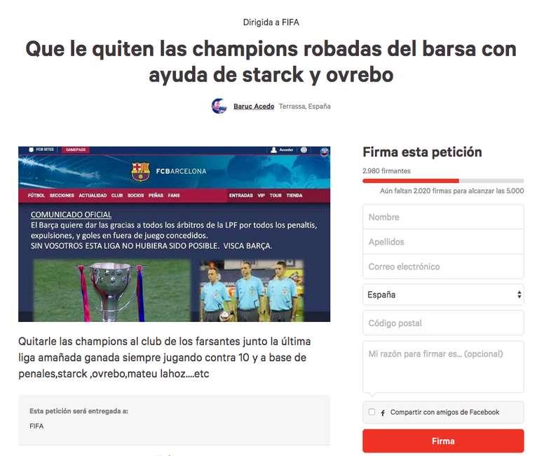 Recogen Firmas Para Quitarle Las Champions Robadas Al