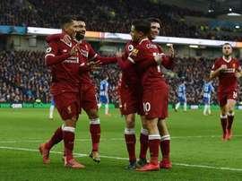 Os brasileiros dos 'reds' estiveram em gande diante do Brighton. Twitter/Liverpool