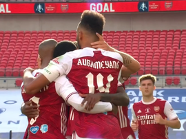 Aubameyang levelled for Arsenal. Screenshot/DAZN