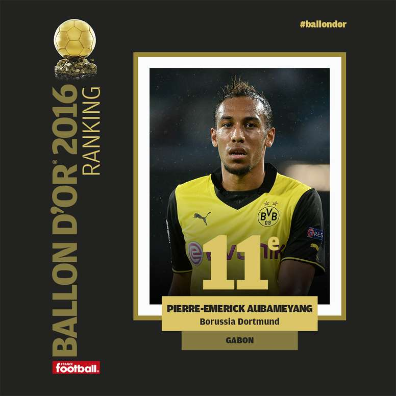 Pierre-Emerick Aubameyang, finished 11th in the Ballon d'Or voting. FranceFootball