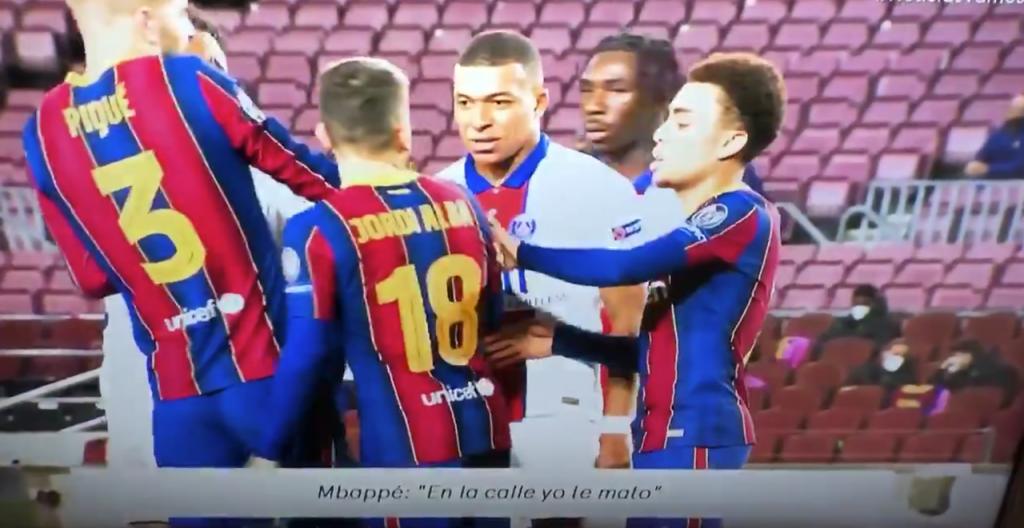 Mbappé amenaza a Jordi Alba en el Barcelona-PSG de Champions