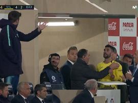 Piqué y Álvaro González discutieron. Captura/Movistar