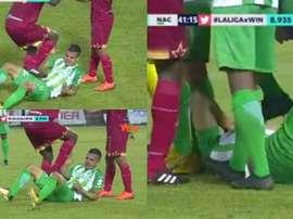 Mosquera le propinó un pisotón a Campuzano. Captura/Win Sports