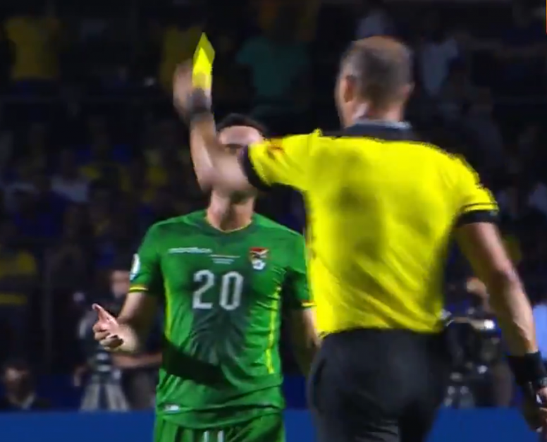 Pitana was allowed to give Saucedo a yellow card after the VAR review. Captura/DAZN