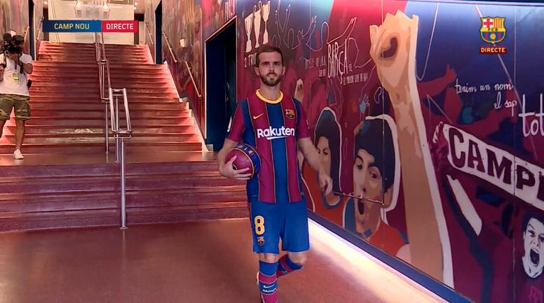 Miralem Pjanic a affiché ses ambitions. Capture/BarçaTV